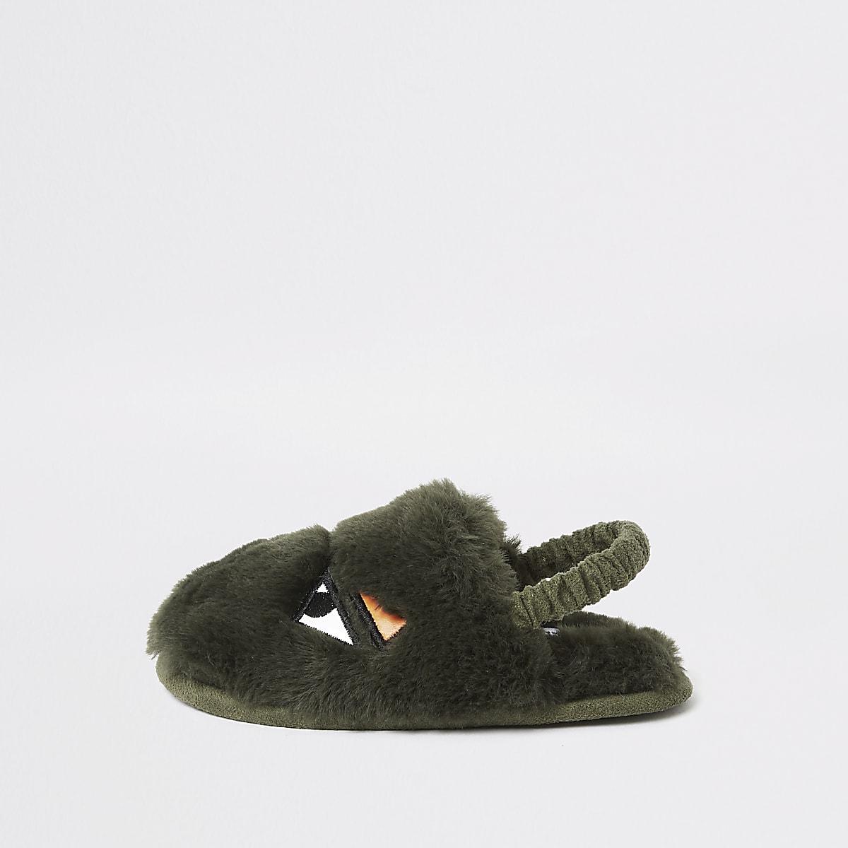Mini boys khaki faux fur monster slippers