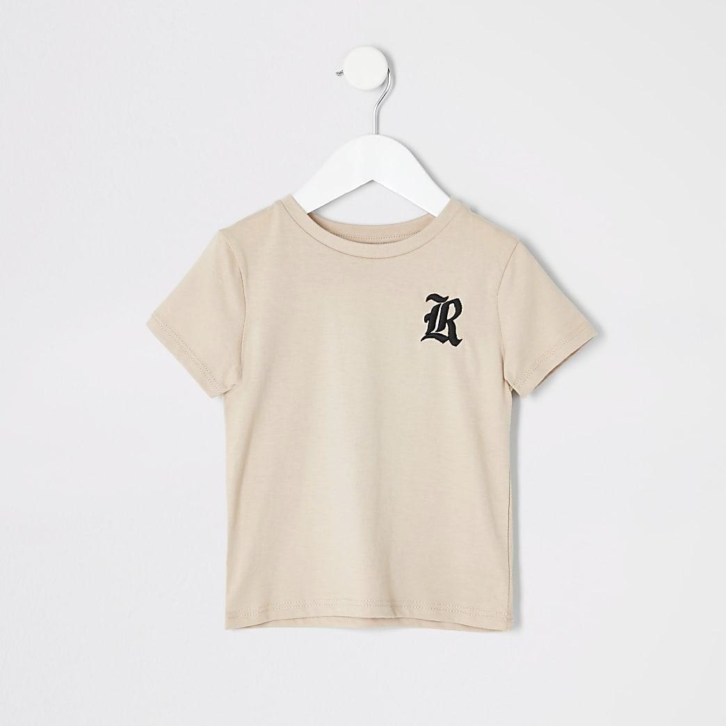 T-shirt grège à broderie RI Mini garçon