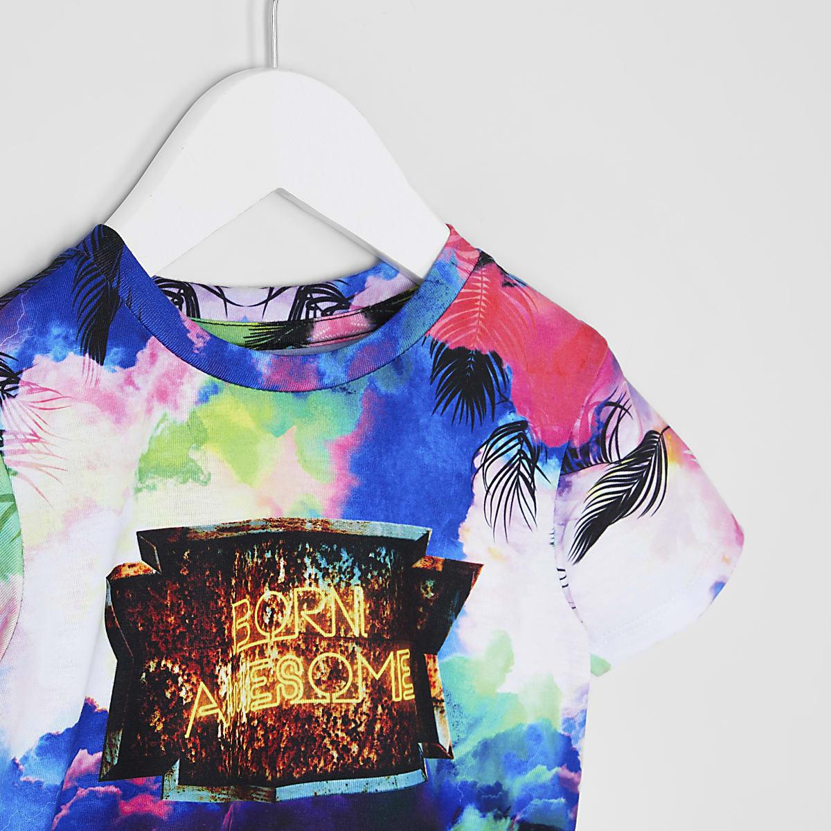 8f65a193 Mini boys 'born awesome' storm print T-shirt - Baby Boys Tops - Mini ...