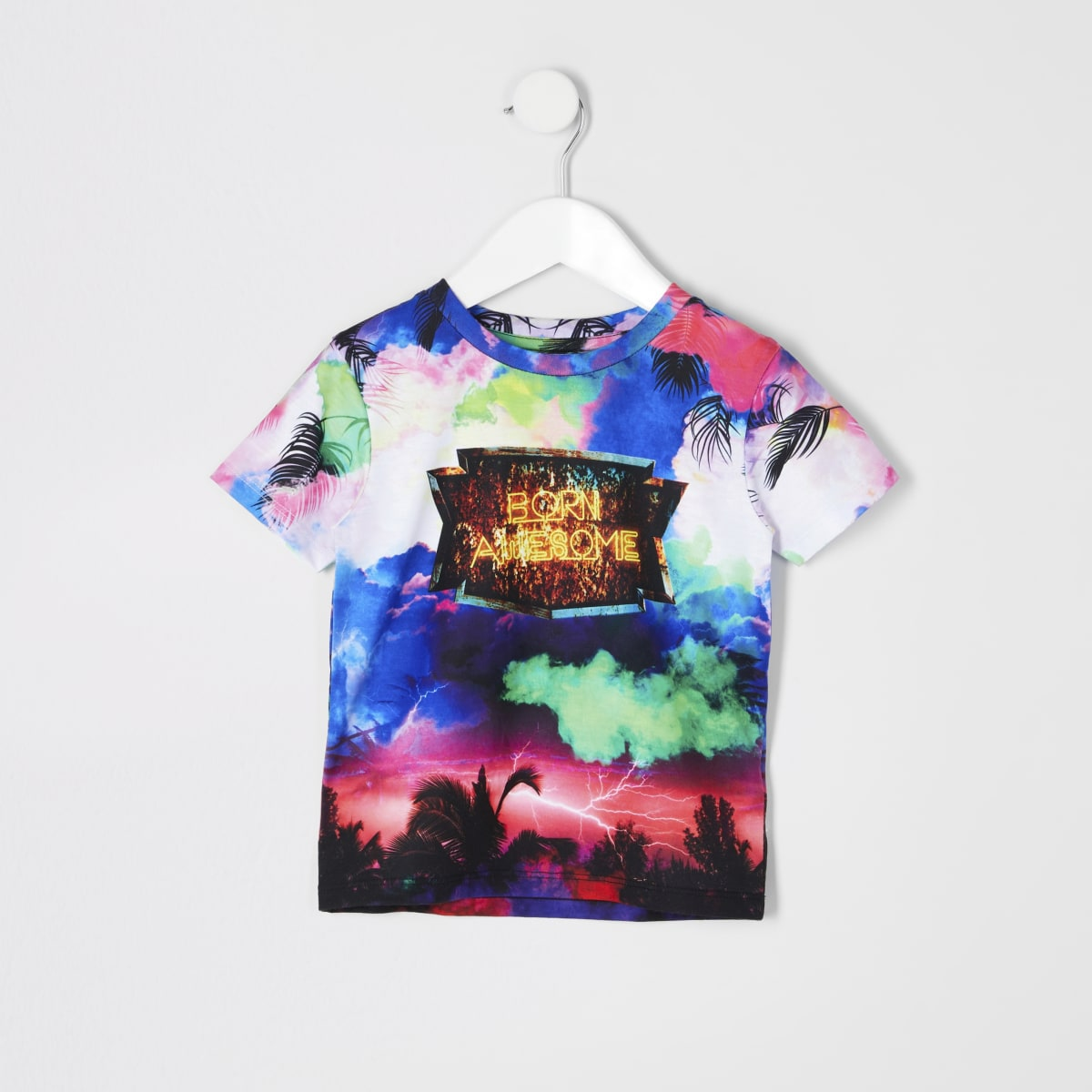 Mini boys 'born awesome' storm print T-shirt