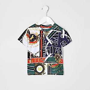 Mini - Groen T-shirt met barokke print voor jongens