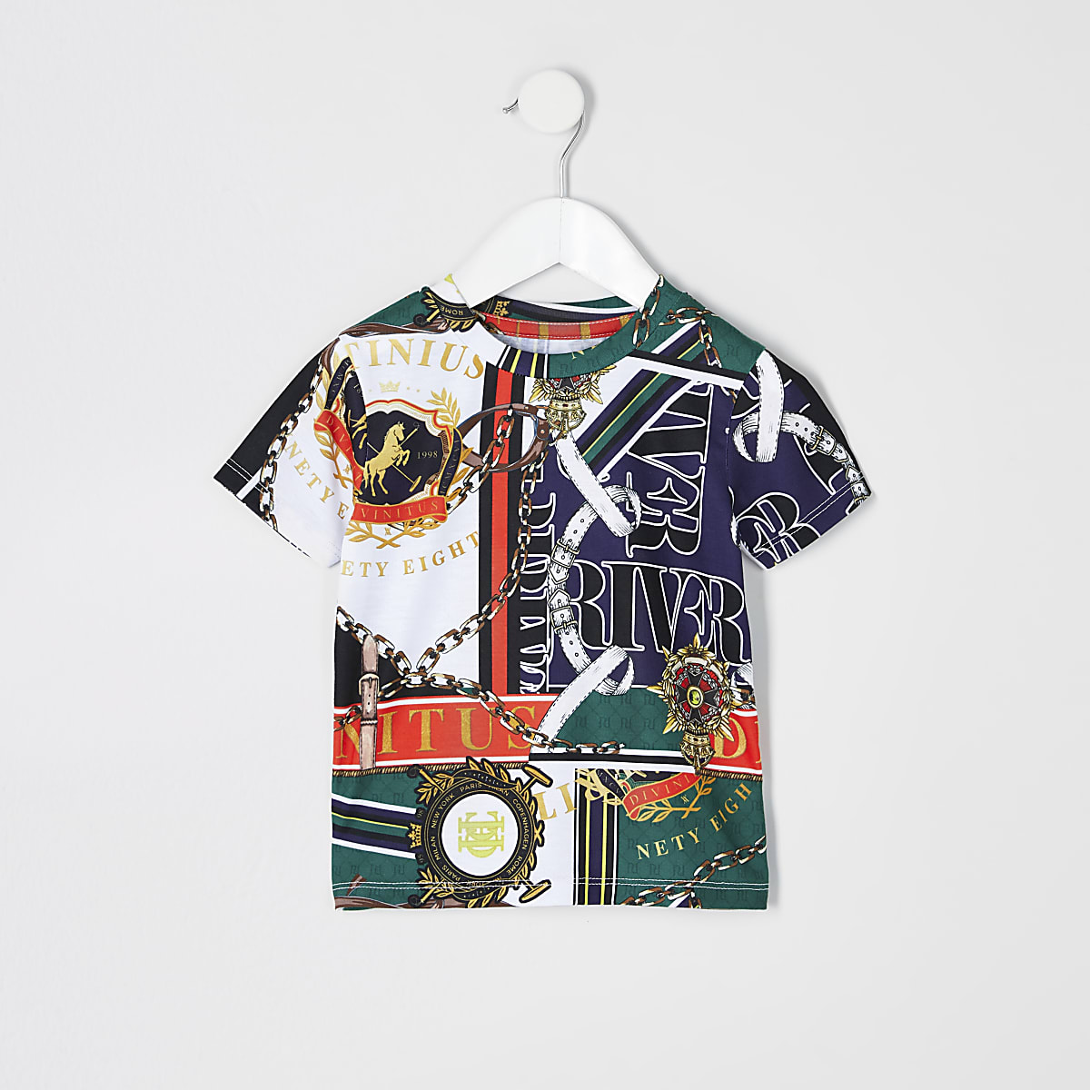 Mini boys green baroque T-shirt
