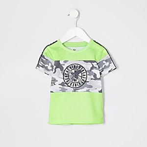 Mini - Neongroen T-shirt met camouflageprint voor jongens