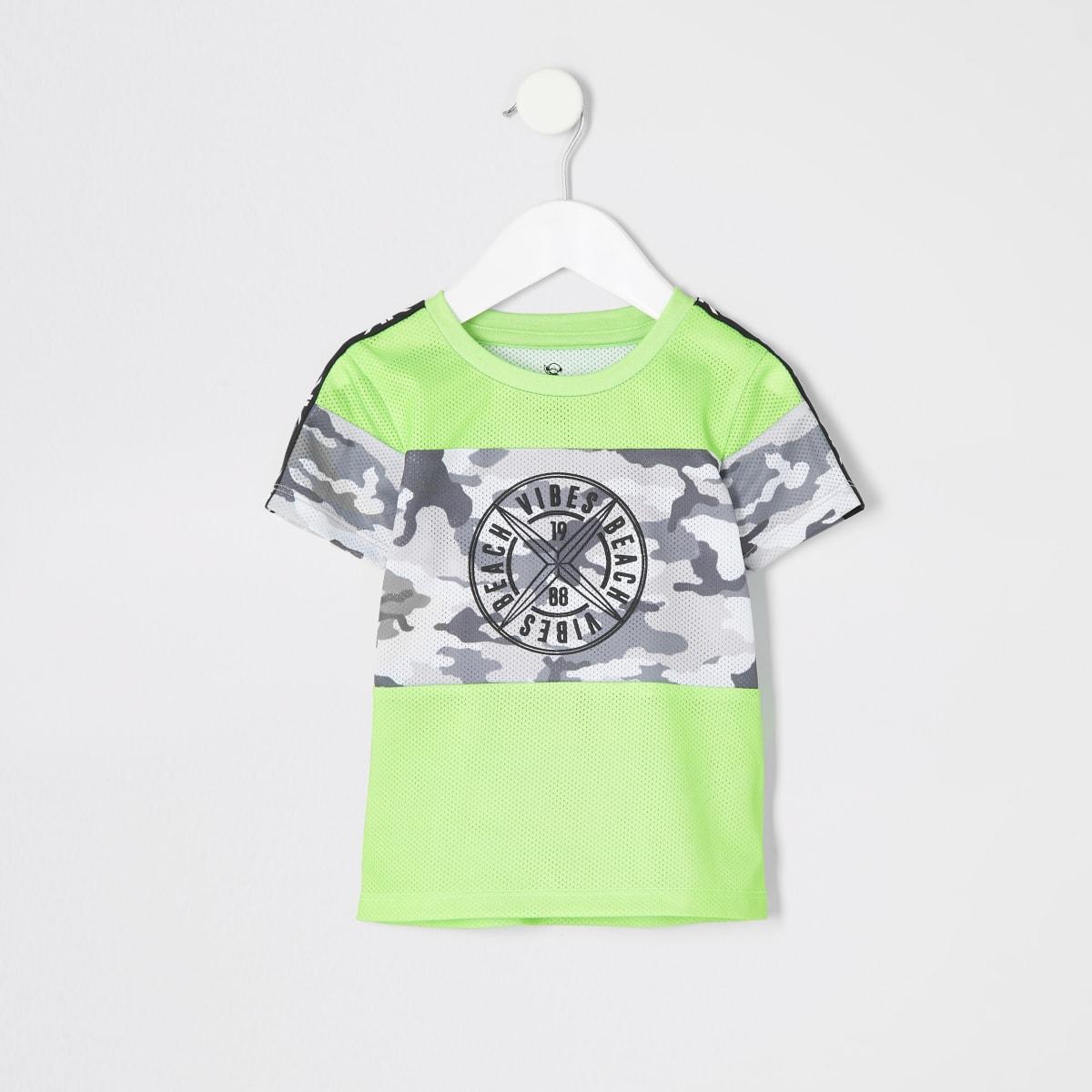 Mini boys neon green camo T-shirt