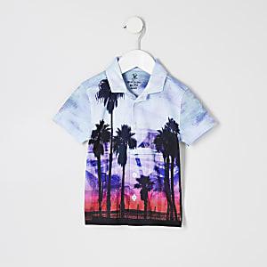 Mini - Blauw overhemd met palmboomprint voor jongens