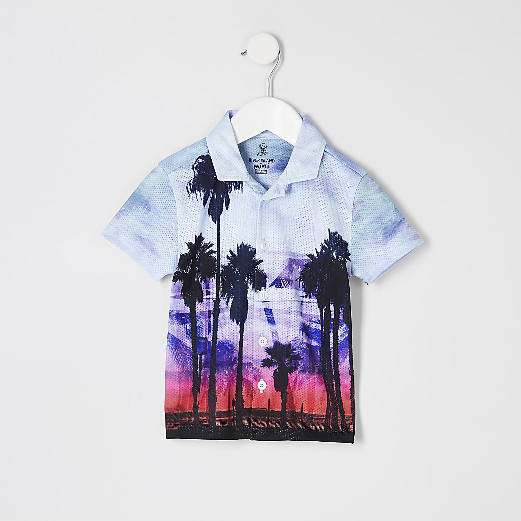 Mini boys blue palm print shirt
