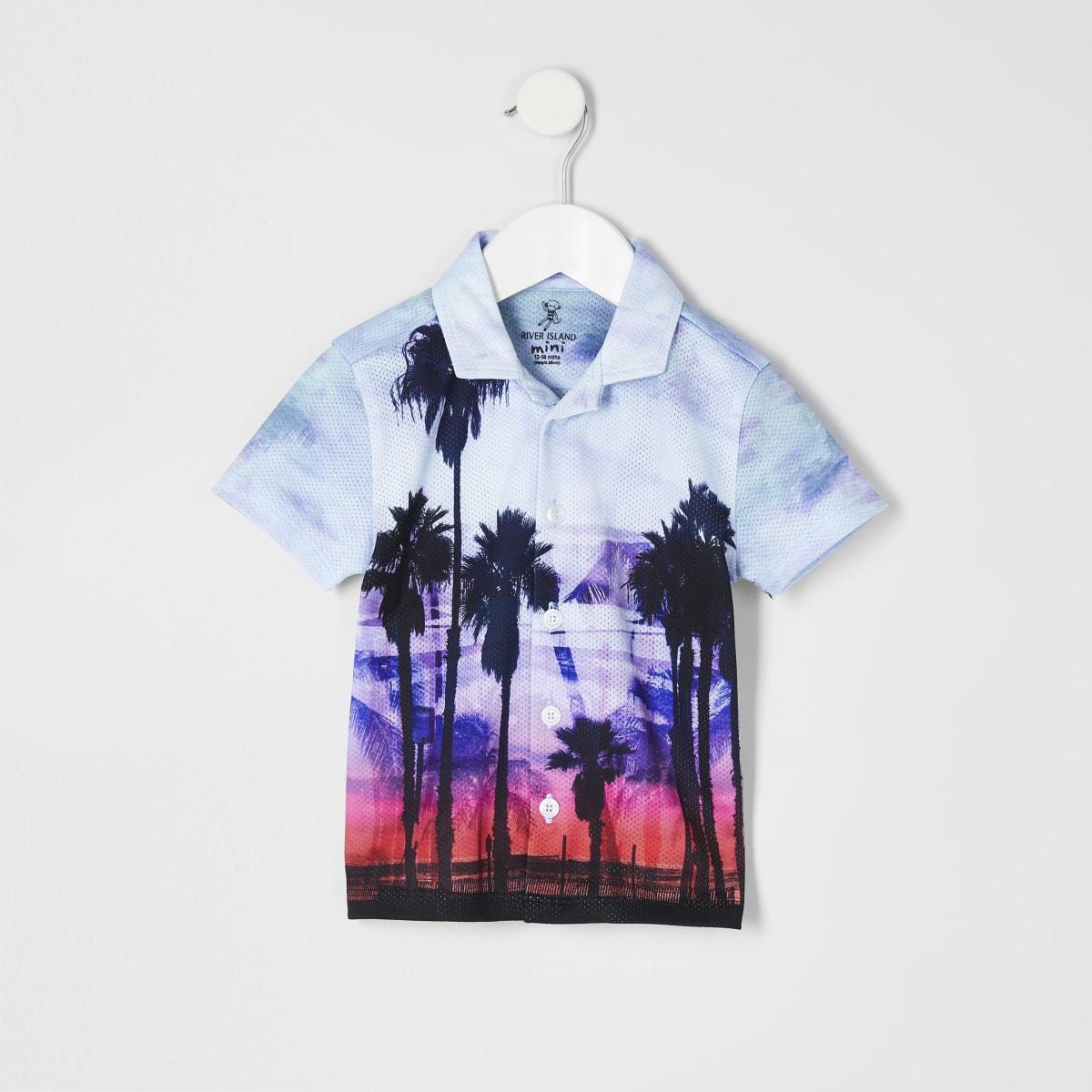Mini boys blue palm print shirt
