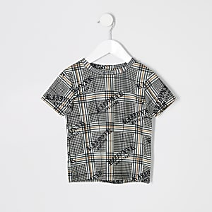 Mini boys brown check T-shirt