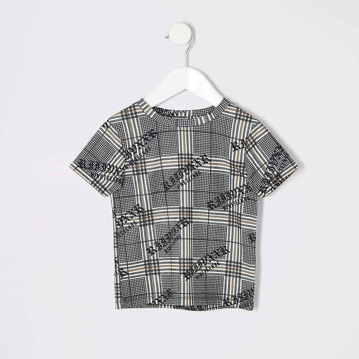 Mini boys brown check T-shirt