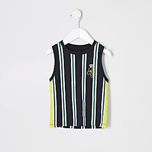 Mini - Marineblauw gestreept hemdje met RI-logo voor jongens