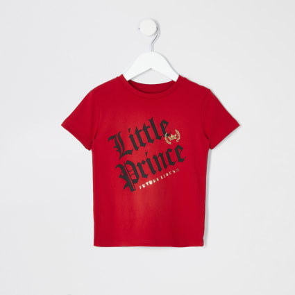 Mini boys red 'Little prince' T-shirt