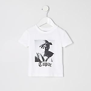 Weißes T-Shirt mit Tupac-Print