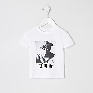 Mini - Wit T-shirt met Tupac-print voor jongens