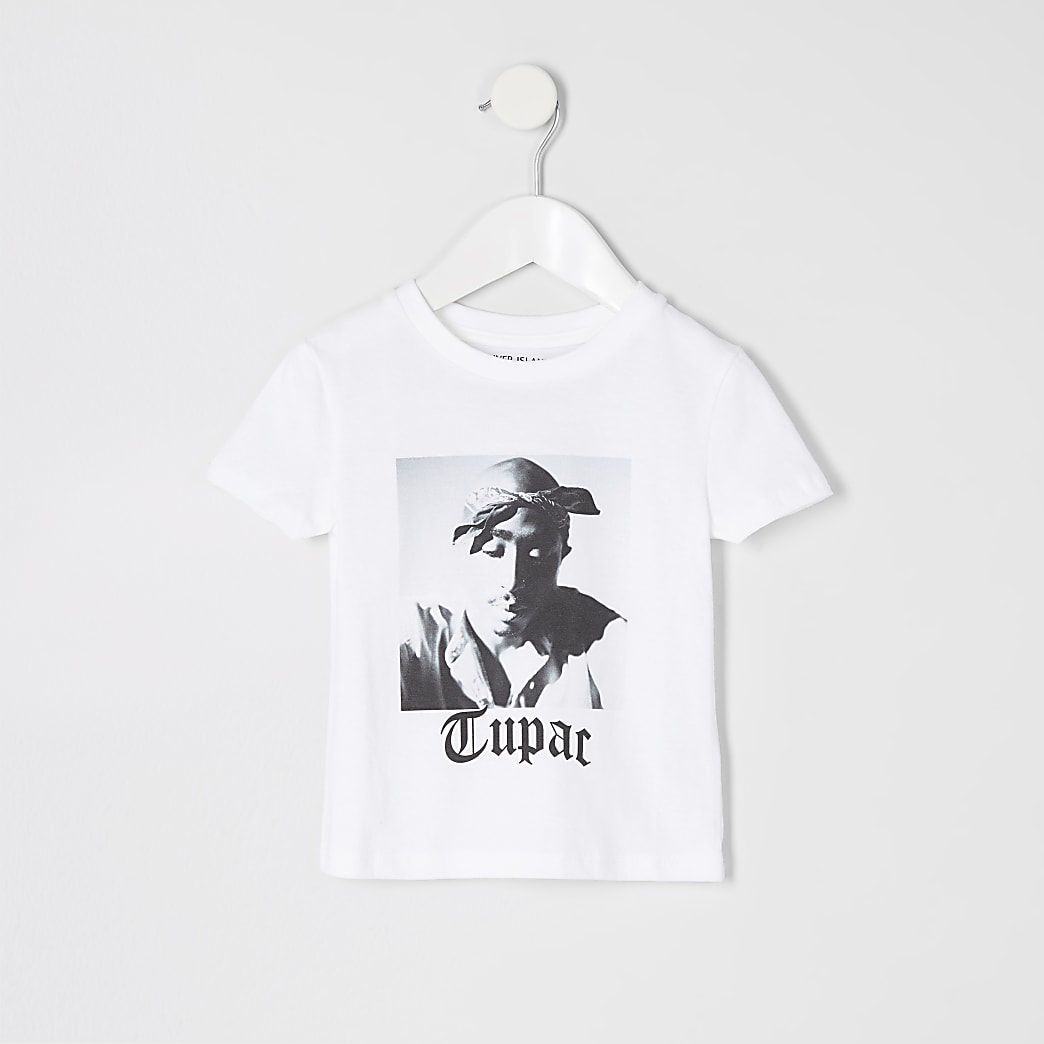 Mini boys white Tupac T-shirt