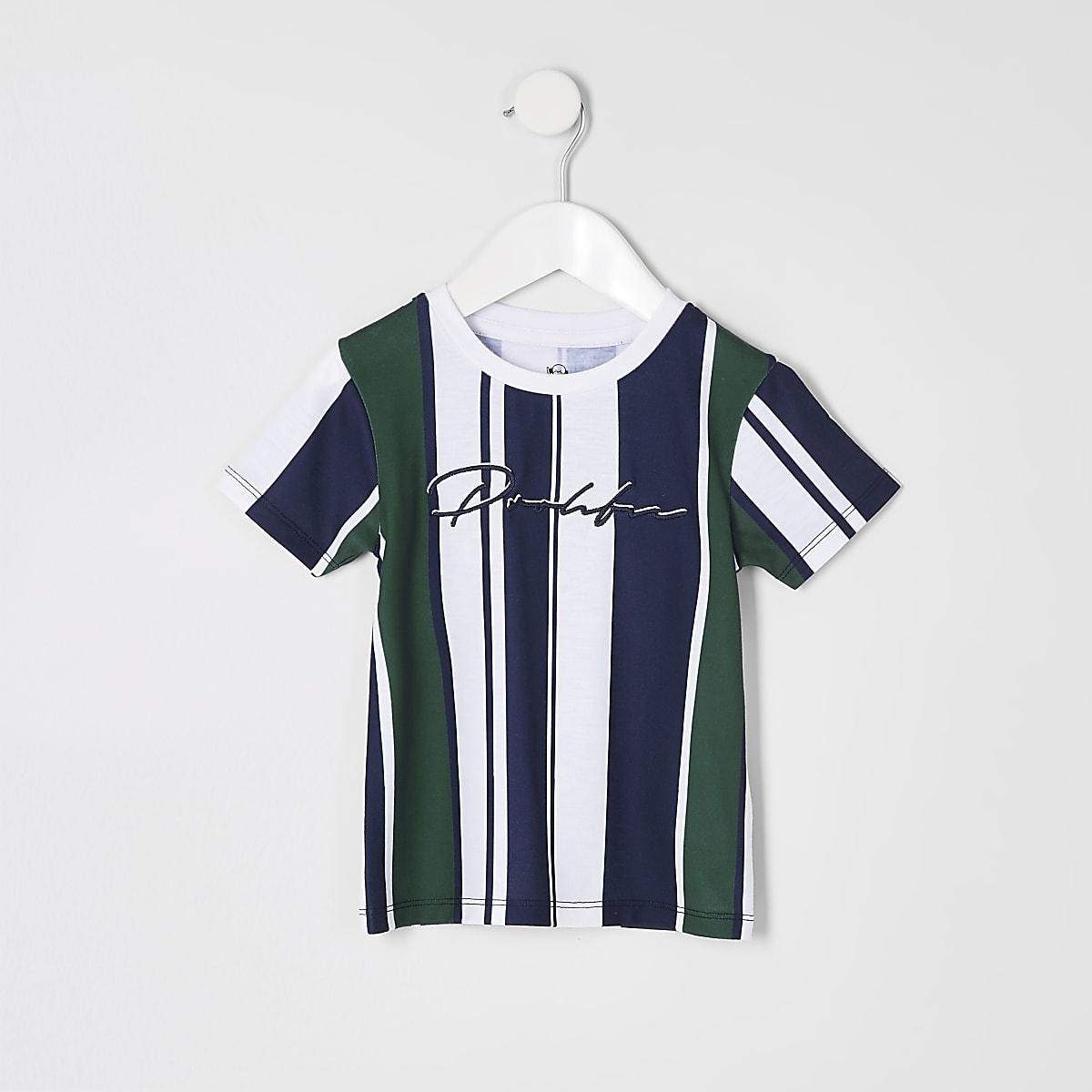 Mini - Marineblauw gestreept T-shirt met 'Prolific'-print voor jongens