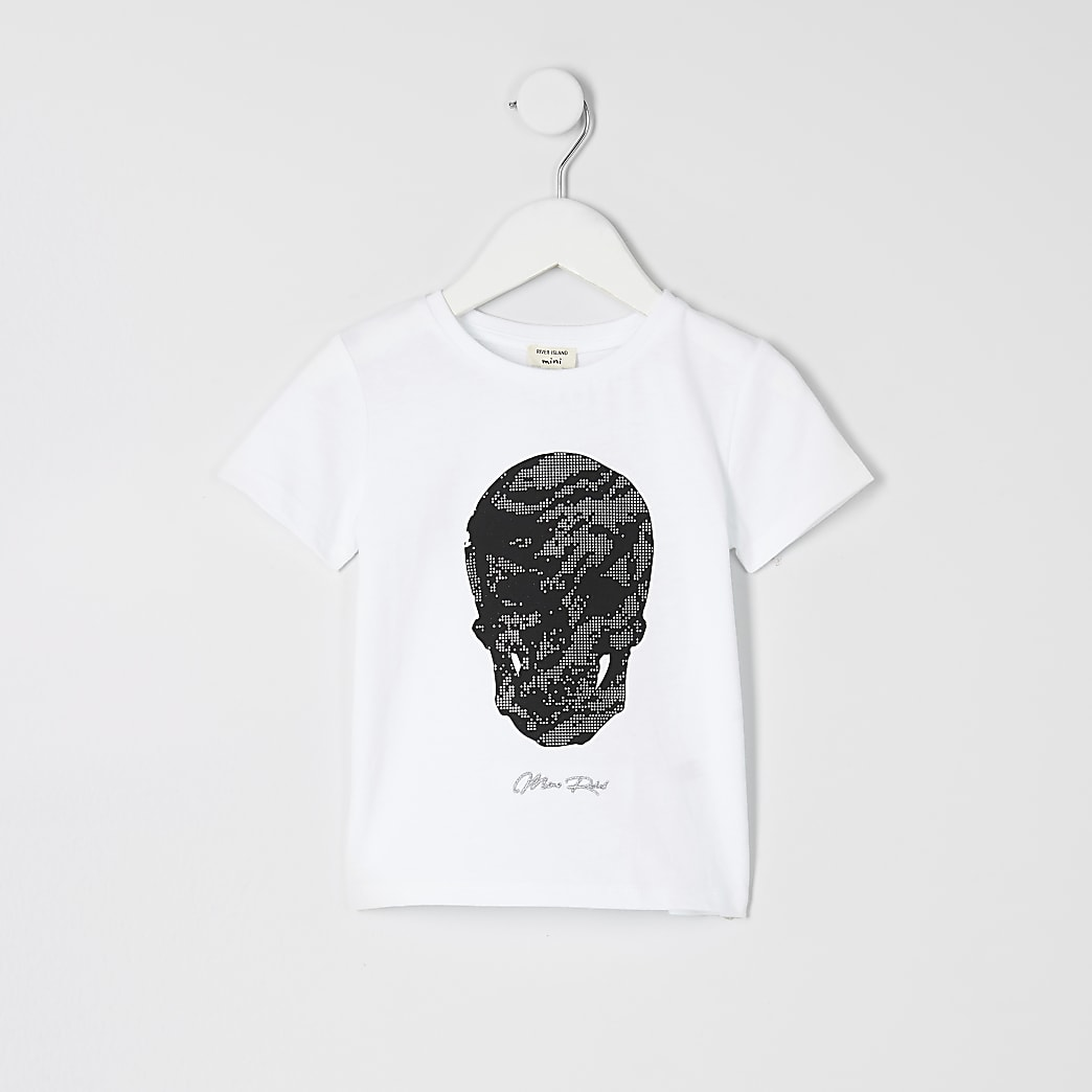 Mini boys white skull print T-shirt