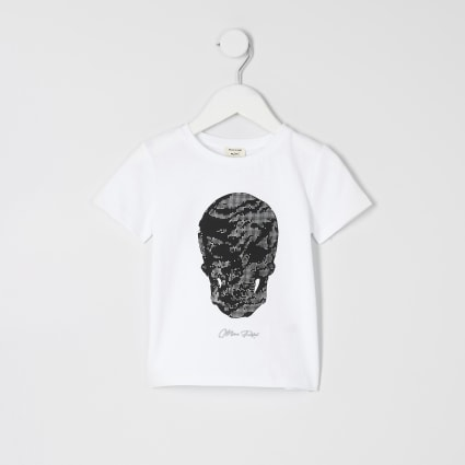 Mini boys white skull print T-shirt