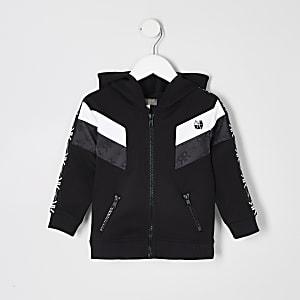 RI Active – Schwarzer Hoodie mit breitem Streifen