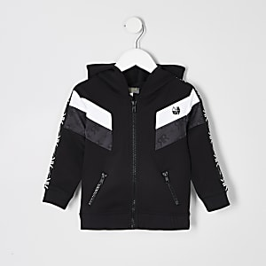 Mini - RI Active - Zwarte hoodie met bies voor jongens