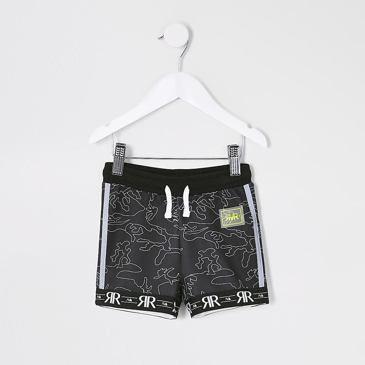 Mini - RI Active - Zwarte short met camouflageprint voor jongens