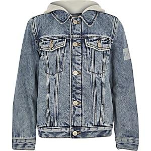 Prolific - gefütterte Jeansjacke in Blau mit Borgbesatz für Jungen