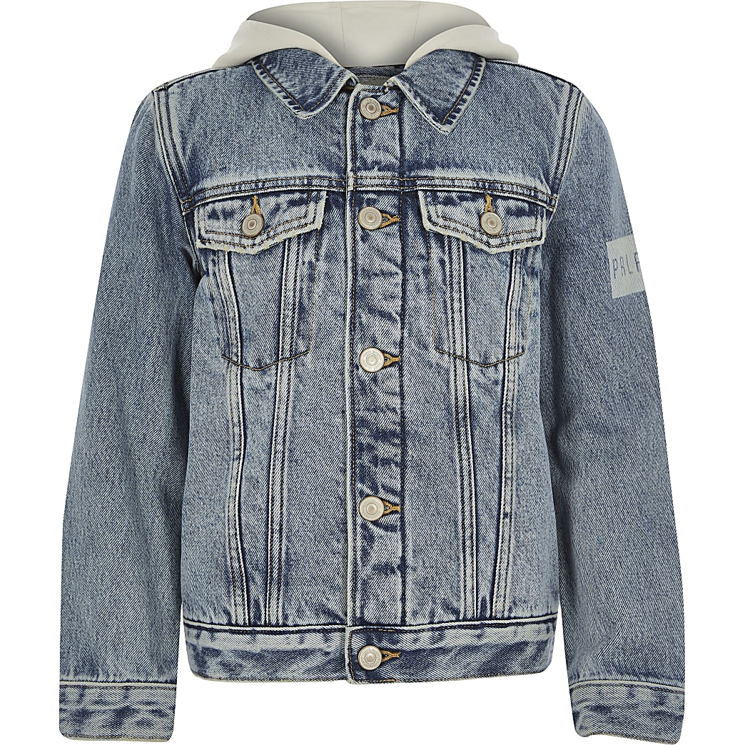 Boys Blue Prolific fleece denim jacket