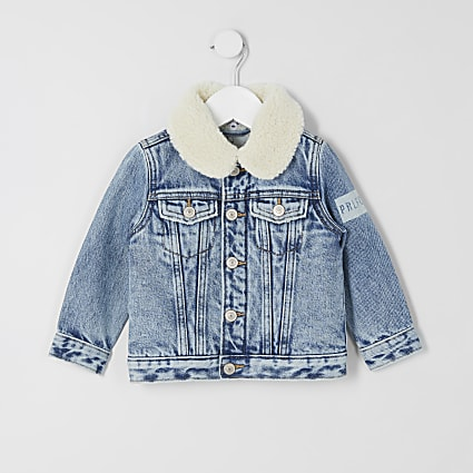 Mini boys blue Prolific borg denim jacket