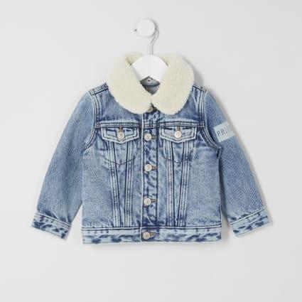 Mini boys blue Prolific borg denim jacket