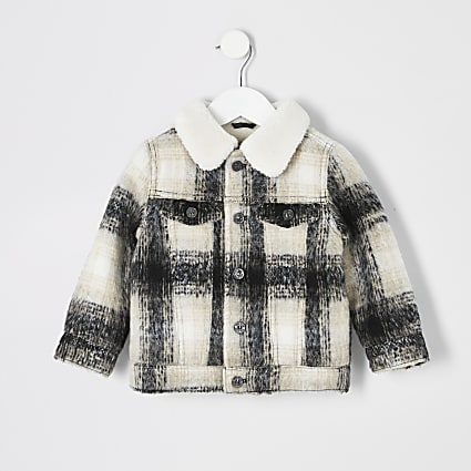 Mini boys ecru check borg collar jacket