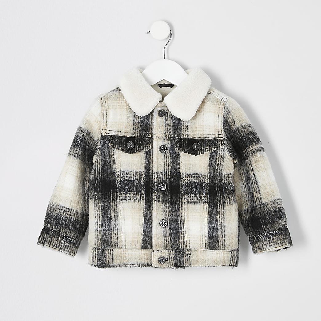 Mini boys ecru check fleece collar jacket