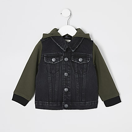 Mini boys black hooded denim jacket