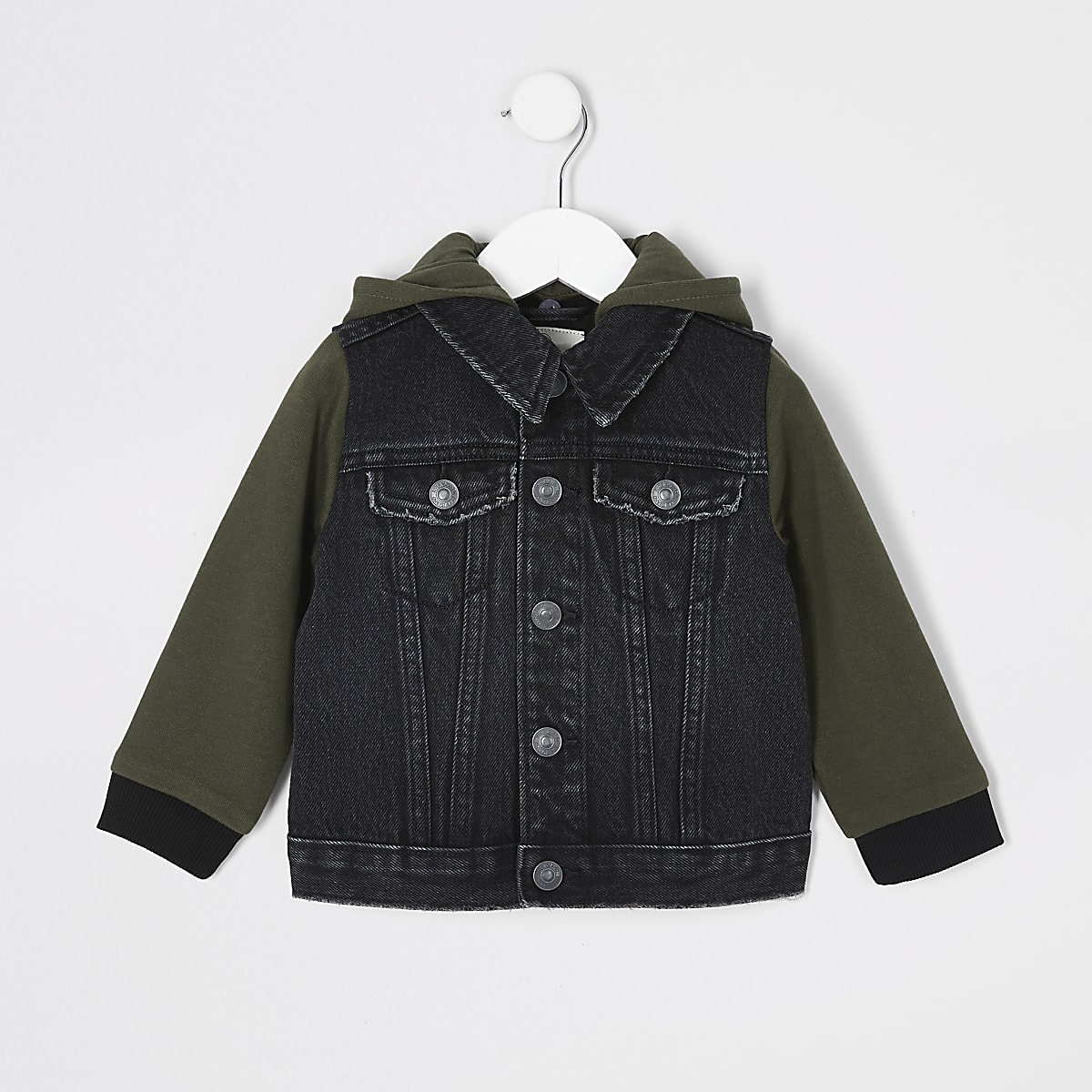 Mini boys black hooded denim jacket