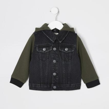 Mini boys jersey sleeve hooded denim jacket