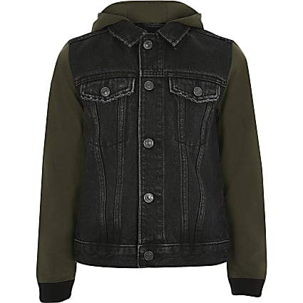Boys black jersey sleeve hooded denim jacket