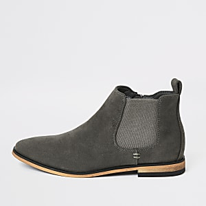 Boys grey smart Chelsea boots