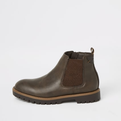 Boys dark brown chelsea boots