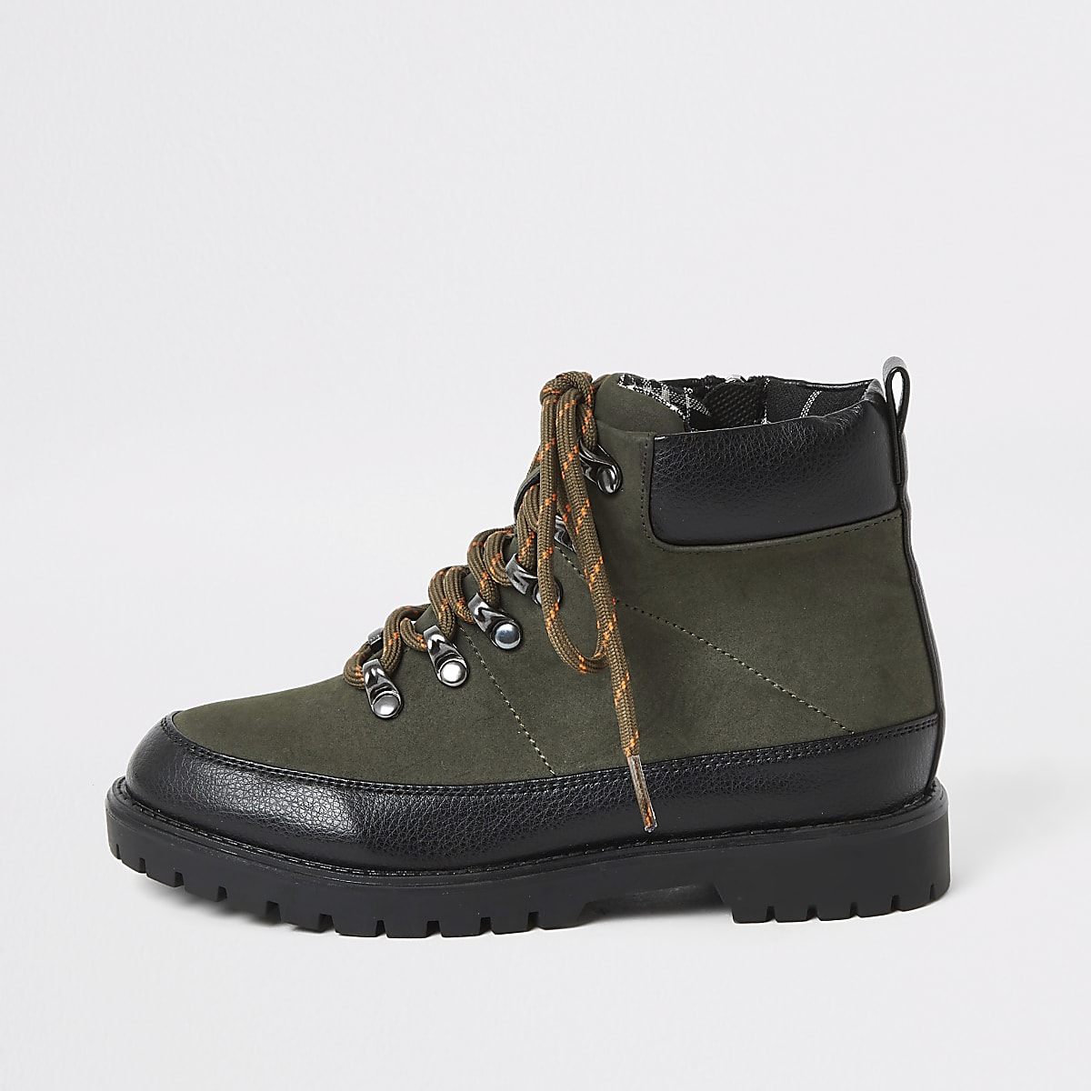 Boys khaki lace-up hiking boots