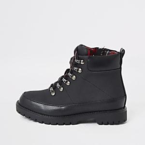 Zwarte wandelschoenen met geruite voering voor jongens