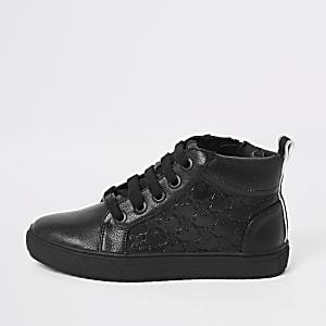 Zwarte sneakers met vetersluiting en RI-logo voor jongens