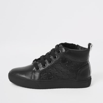 Boys black RI monogram lace-up trainers