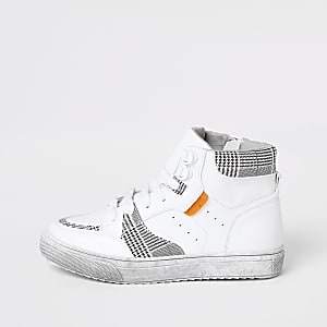 Weiß-karierte, hohe Sneaker für Jungen