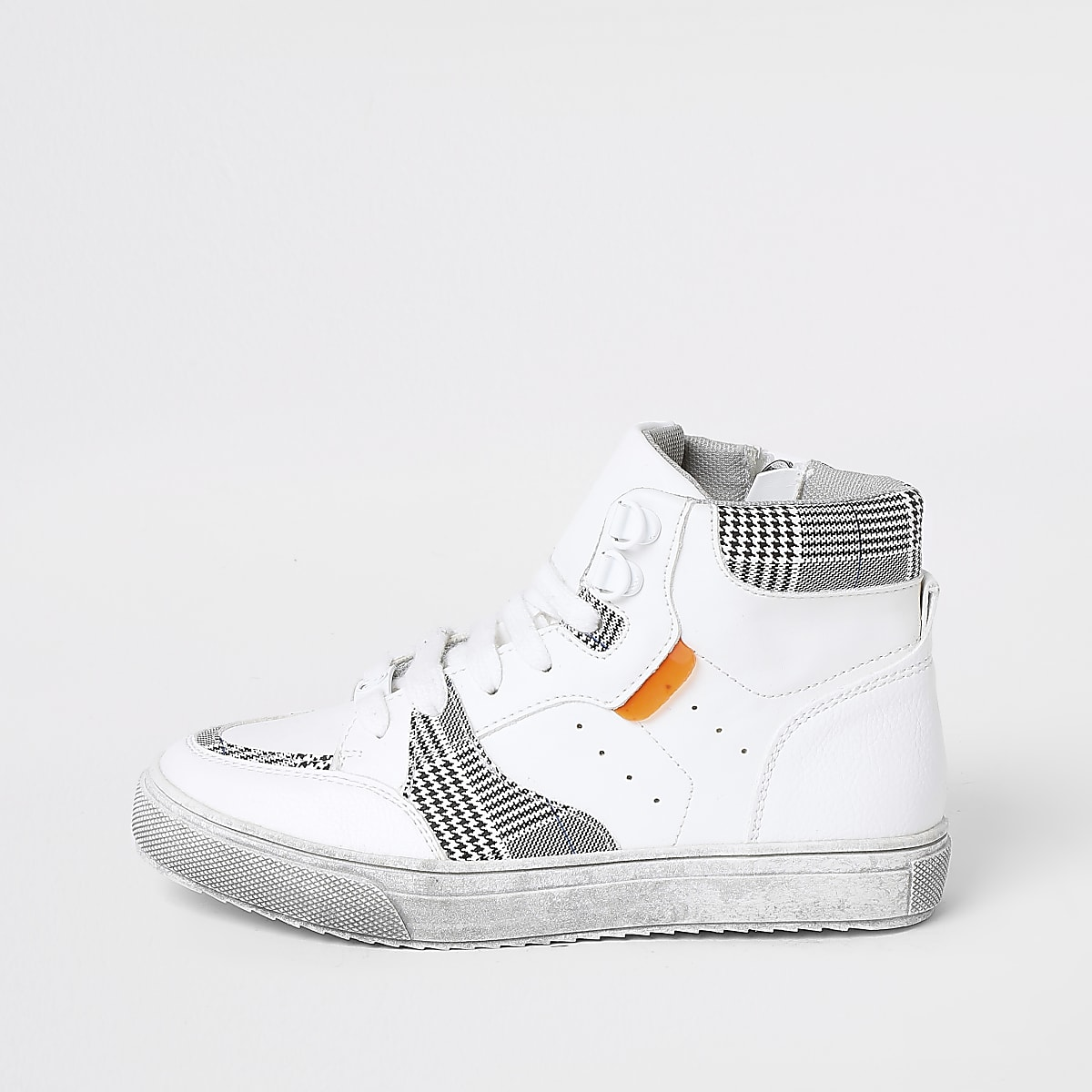 Boys white checked high top trainers