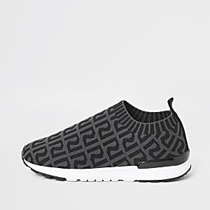 Graue Lauf-Sneaker mit RI-Monogramm für Jungen