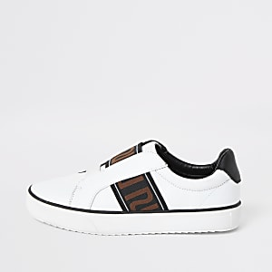 Boys white RI tape detail slip on