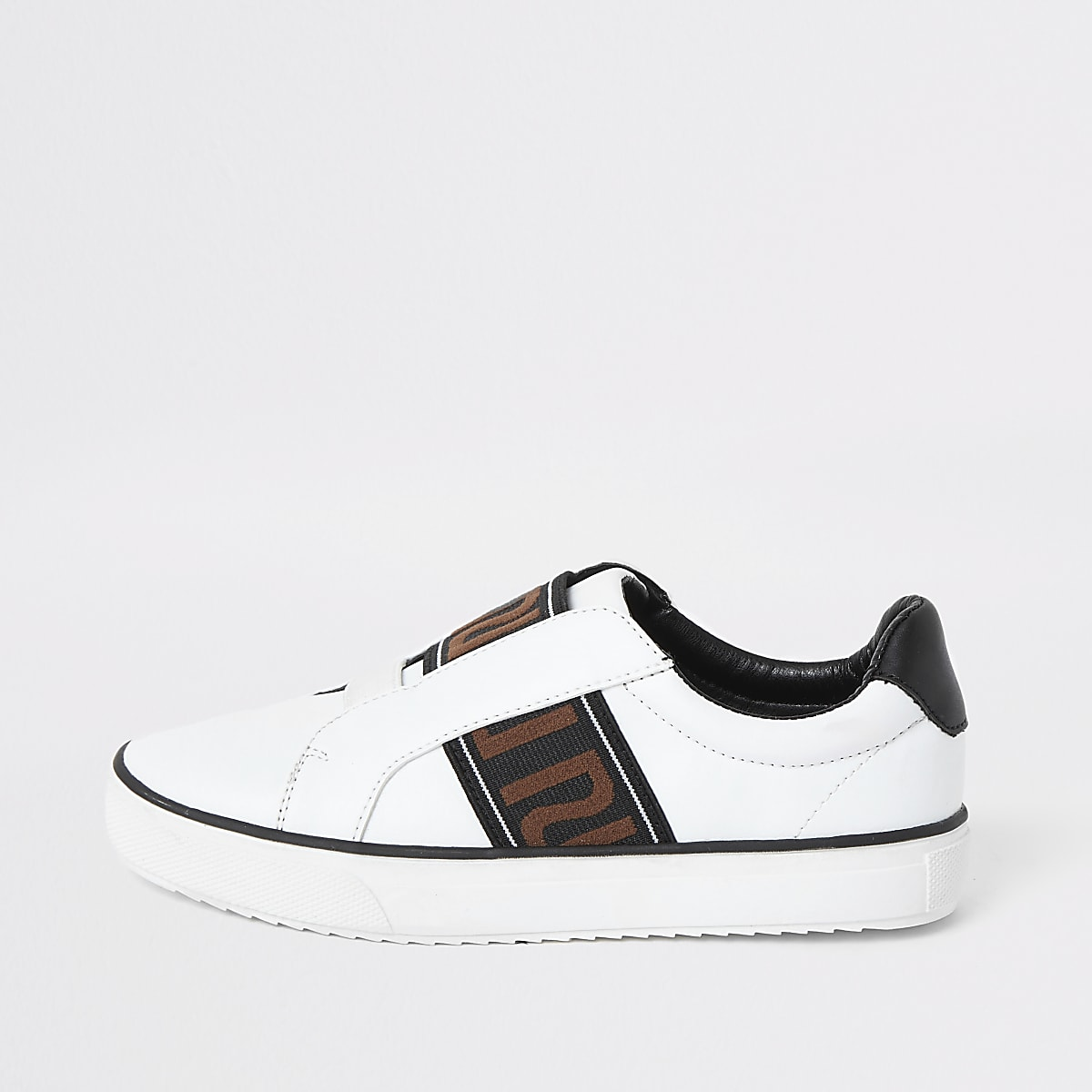 Boys white RI tape detail slip on trainers