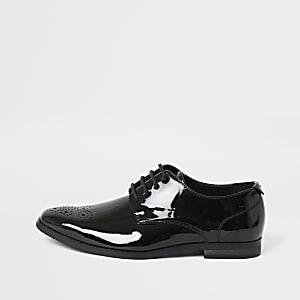 Zwarte lakleren schoenen met puntteen voor jongens