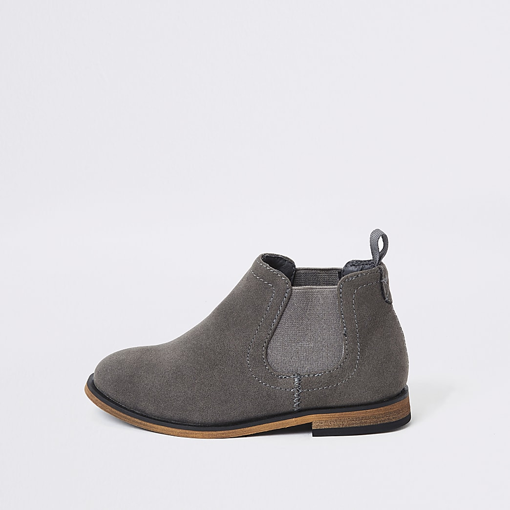 Mini - Grijze imitatiesuède nette chelsea boots voor jongens