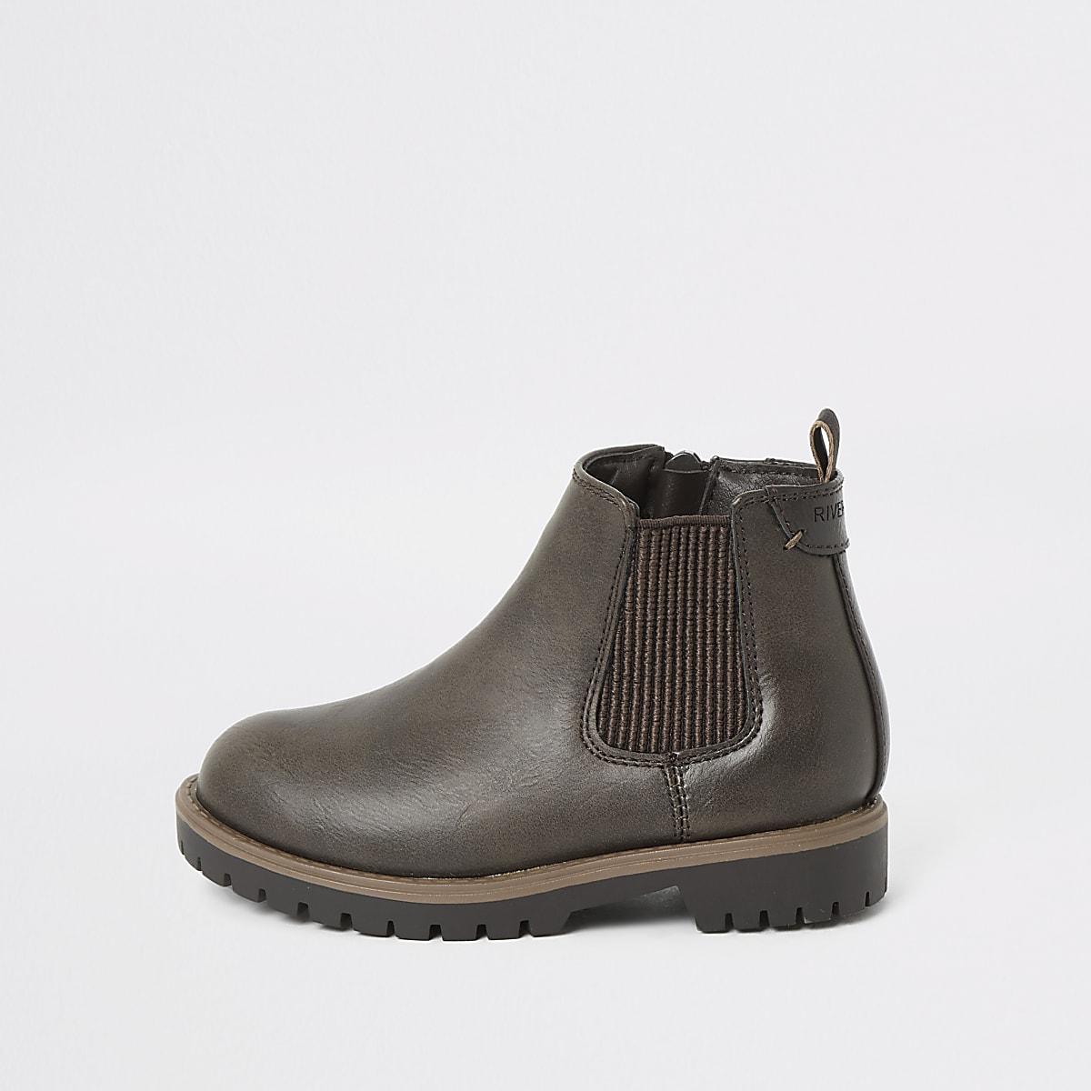 Mini boys dark brown chelsea boots