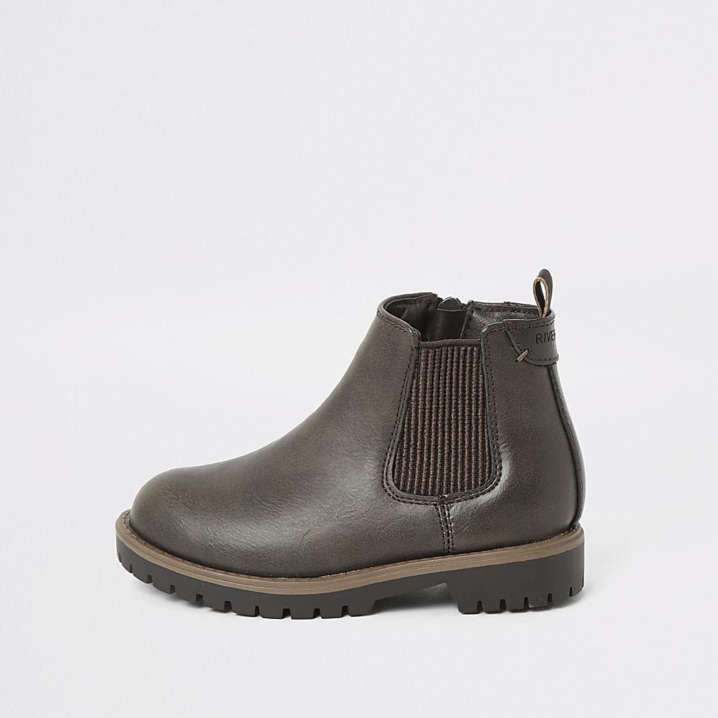 Mini - Donkerbruine Chelsea boots voor jongens