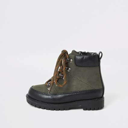 Mini boys khaki lace-up hiking boots
